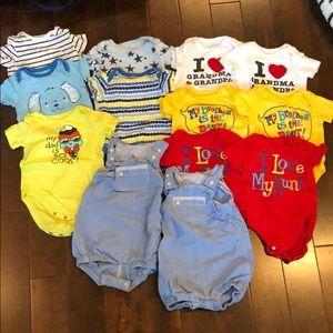 Bundle of 13 baby boy summer onesies